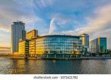 Media City UK in Manchester during sunset, England