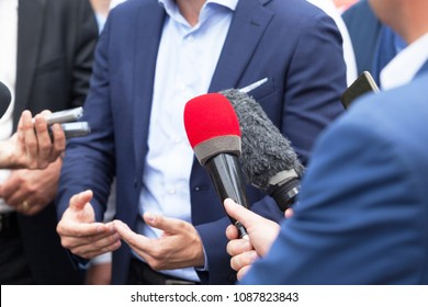 Media interview with business person or politician
