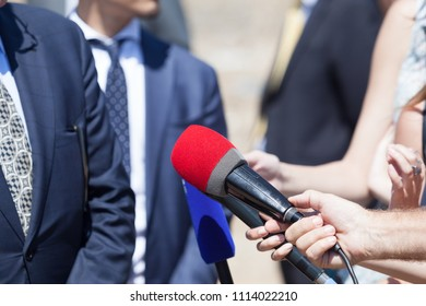 Media interview with businessman