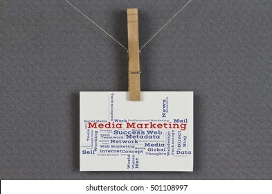Media Marketing word cloud on a business card pinned up on a board