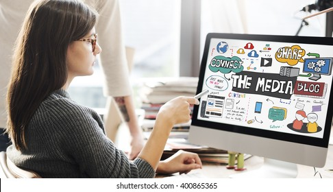 The Media Social Networking Online Connection Concept