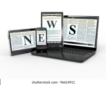 Media. Text NEWS on screen of laptop, tablet, pc and phone. 3d
