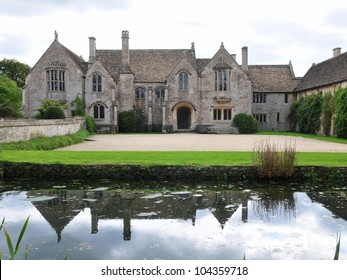 Mediaeval English Manor House Surrounded by a Moat