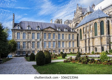 Mediaeval Palace of Tau (Palais du Tau) and palace chapel (on right) in Reims. It was bishop palace and subsequently an archbishop palace. Reims, Champagne-ardenne, France.