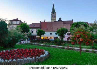 MEDIAS, ROMANIA-July 10, 2017: View of the center of Medias town. It is the medieval town in Transylvania, Sibiu country, Romania.