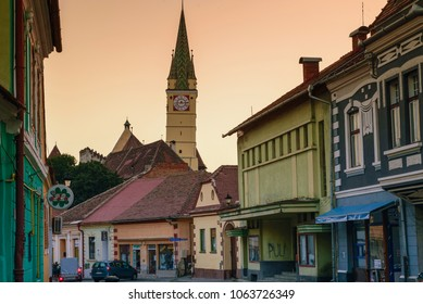MEDIAS, ROMANIA-July 10, 2017: View of Medias town in sunset time. It is the medieval town in Transylvania, Sibiu country, Romania.