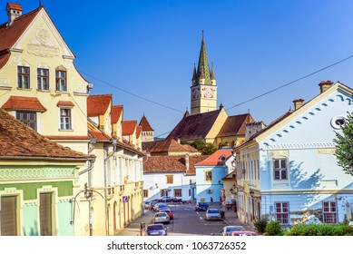 MEDIAS, ROMANIA-July 11, 2017: Sunny day in Medias. It is the medieval town in Transylvania, Sibiu country, Romania.