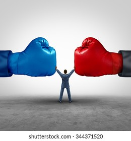 Mediate and legal mediation business concept as a businessman or lawyer separating two boxing glove opposing competitors as an arbitration success symbol for finding a solution to solve a conflict.