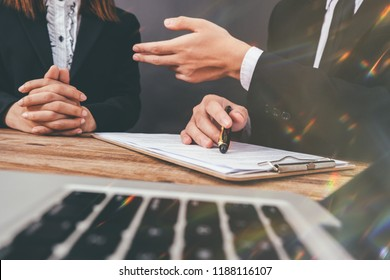 Mediation client meeting lawyer consulting government help, 			Businessman and Male lawyer or judge consult having team meeting with client, Law and Legal services concept.