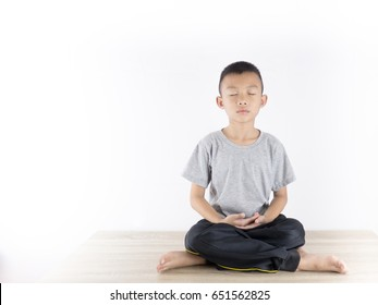 Mediation Concentration concept. Asian boy child meditation. Concentration meaning of mental state to keep calm to more energetic. Concentrate meaning of practice focus to same point to power mental