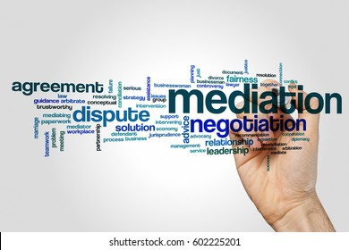 Mediation word cloud concept on grey background