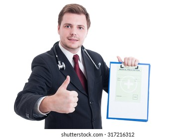 Medic or doctor holding medical prescription and showing like and thumb-up gesture