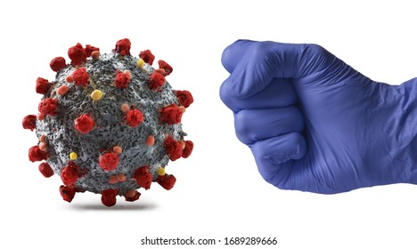 Medic glove hand punch the coronavirus molecule structure.