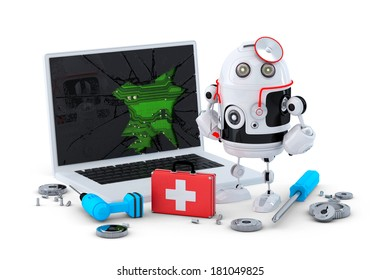 Medic Robot. Laptop repair concept. Isolated on white background