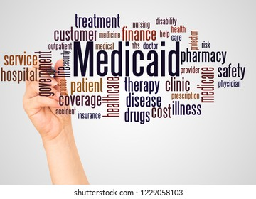Medicaid word cloud and hand with marker concept on white background.