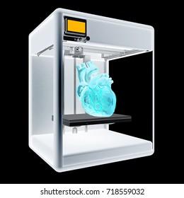 Medical 3d printer for duplication of human organs. 3D Bio-printer. 3d illustration. On a black background