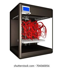 Medical 3d printer for duplication of veins. 3D Bio-printer. 3d illustration