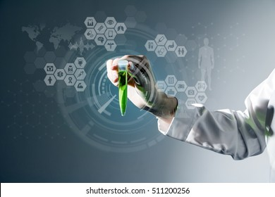 medical abstract image visual, a woman holding a test tube, IoT(Internet of Things), ICT(Information Communication Technology), CPS(Cyber-Physical Systems)