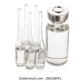 Medical ampoules for injection on white background isolate