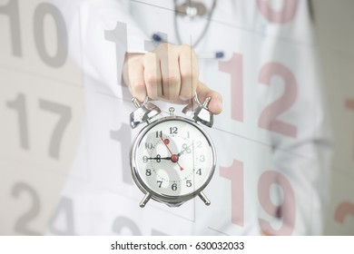 Medical background doctor with clock and calendar. appointment and health concept