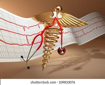 Medical background. Stethoscope, caduceus symbol  and cardiogram. 3d