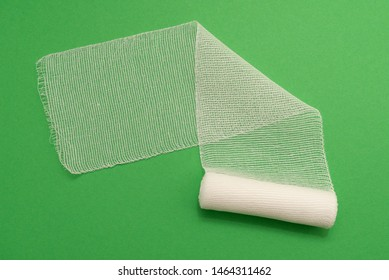 medical bandage isolated on green background