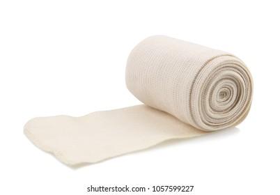 Medical bandage roll isolated on white background.