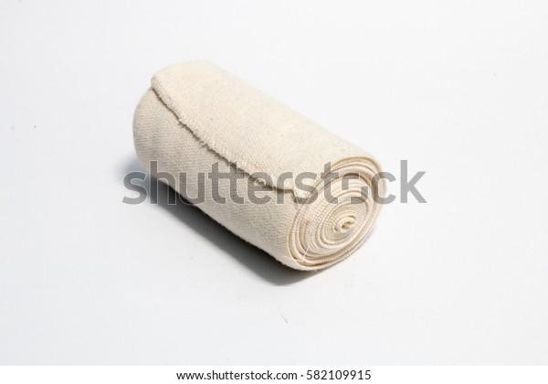 Medical bandage roll on white backgeound