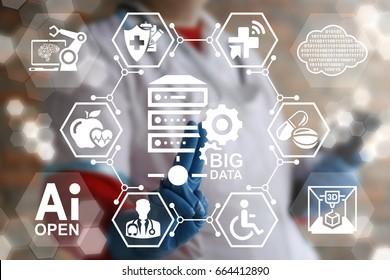 Medical Big Data Server Room Technology Integration Concept. Doctor presses data center computer button on virtual screen.