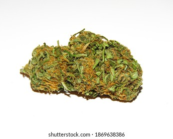 Medical cannabis bud isolated on white background.