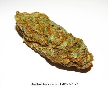 Medical Cannabis buds. Closeup of marijuana buds, isolated on white background.