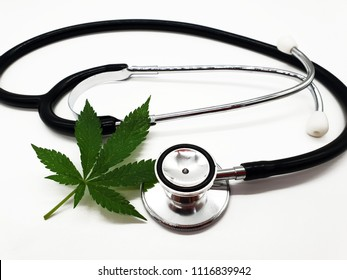 Medical cannabis from a doctor on a white background