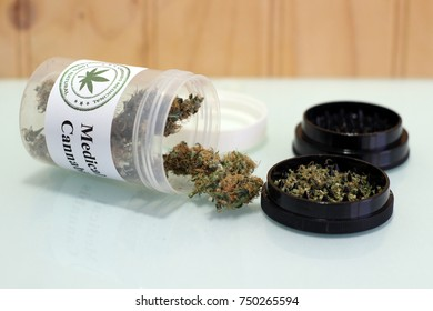 Medical cannabis and grinder