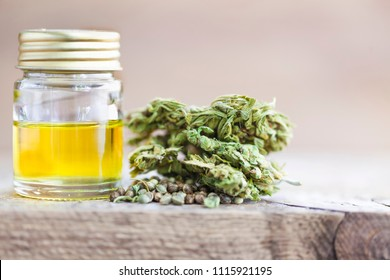Medical cannabis oil cbd bottle seeds hemp