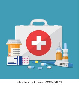 Medical care concept. medical kit stethoscope thermometer drugs and pills health care hospital icon. illustration in flat style. Raster version