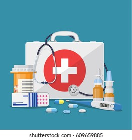 Medical care concept. medical kit thermometer drugs and pills health care hospital icon. illustration in flat style. Raster version