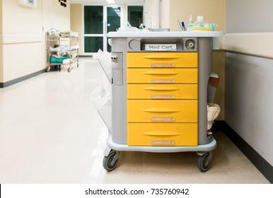 medical cart in empty corridaor at hospital