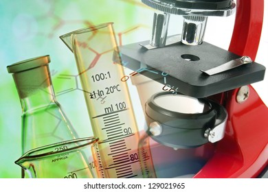 Medical or chemistry science background with microscope