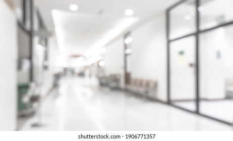 Medical clinic blur background hospital service center in patient's ward blurry perspective view of interior white room, lab corridor hallway, lobby or walkway for nursing care healthcare service