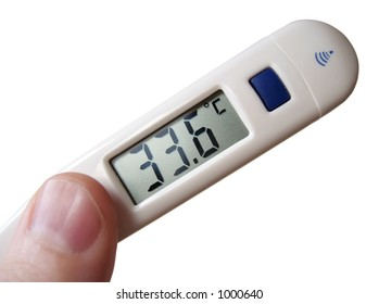 Medical close up of digital thermometer with centigrade readout, isolate against a white background