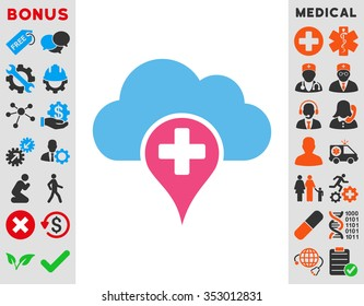 Medical Cloud glyph icon. Style is bicolor flat symbol, pink and blue colors, rounded angles, white background.