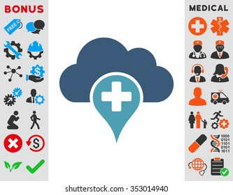 Medical Cloud glyph icon. Style is bicolor flat symbol, cyan and blue colors, rounded angles, white background.