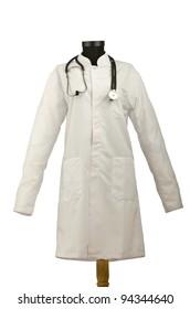 Medical coat and stethoscope isolated on white