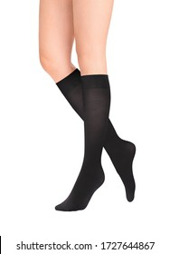 Medical Compression Stockings for varicose veins and venouse therapy. Compression Hosiery.  Sock for sports isolated on white background. Black color socks as mock up for advertising, branding, design