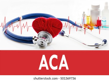 Medical concept, ACA (affordable care act). Stethoscope and red heart on a white background
