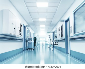 Medical concept. Hospital corridor with rooms. 3d illustration