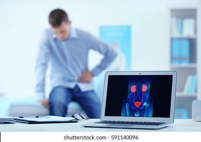 Medical concept. Laptop on doctor's desk