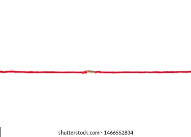 medical concept photo of  red yarn thread like ECG pattern, isolated on white background.   pulse line on white background.