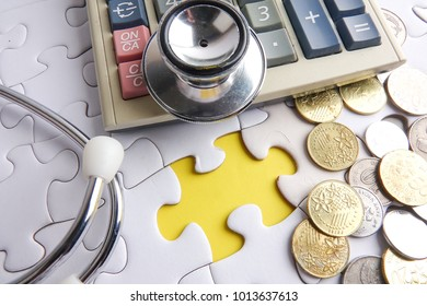 MEDICAL CONCEPT; Stethoscope,jigsaw puzzle  and sticker. Copy space