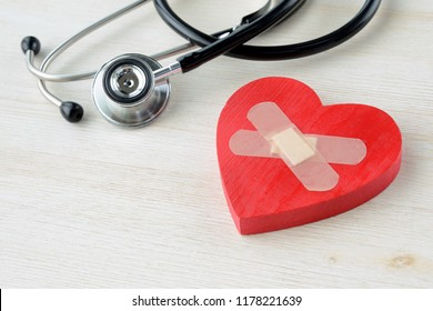 Medical concepts, heart object with adhesive plasters